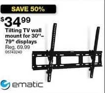"Sears Black Friday: Ematic Tilting TV Wall Mount for 30""-70"" Displays for $34.99"