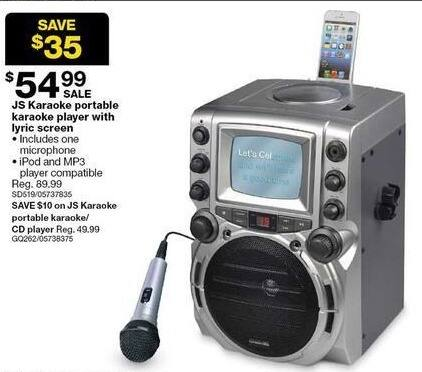 Sears Black Friday: JS Karaoke Portable Karaoke Player with Lyric Screen and Microphone for $54.99