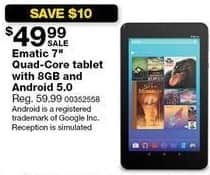"Sears Black Friday: 8GB Ematic 7"" Quad-Core Tablet, Android 5.0 for $49.99"