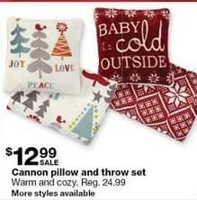 Sears Black Friday: Cannon Pillow and Throw Set for $12.99