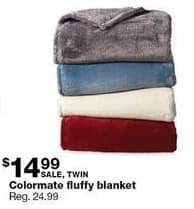 Sears Black Friday: Colormate Fluffy Twin Blanket for $14.99