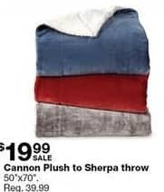 "Sears Black Friday: Cannon Plus to Sherpa Throw 50""x70"" for $19.99"