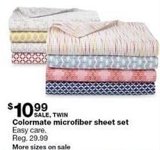 Sears Black Friday: Colormate Microfiber Twin Sheet Set for $10.99