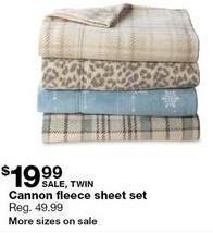 Sears Black Friday: Cannon Fleece Twin Sheet Set for $19.99
