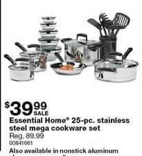 Sears Black Friday: Essential Home 25-pc Stainless Steel Mega Cookware Set for $39.99