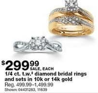 Sears Black Friday: 1/4 ct tw Diamond Bridal Rings and Sets in 10K or 14K Gold for $299.99