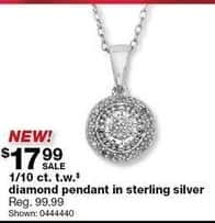Sears Black Friday: 1/10 ct tw Diamond Pendant in Sterling Silver for $17.99