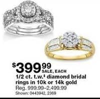Sears Black Friday: 1/2 ct tw Diamond Bridal Rings in 10k or 14k Gold for $399.99