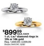 Sears Black Friday: 1 ct tw Diamond Rings in 10k or 14k Gold for $899.99