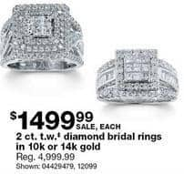 Sears Black Friday: 2 ct tw Diamond Bridal Rings in 10k or 14k Gold for $1,499.99