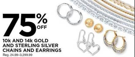 Sears Black Friday: 10k and 14k Gold and Sterling Silver Chains and Necklaces, Select Styles - 75% Off