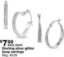 Sears Black Friday: Sterling Silver Glitter Hoop Earrings for $7.99