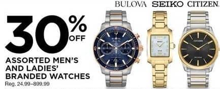 Sears Black Friday: Men's and Women's Watches from Bulova, Seiko, Citizen and More, Select Styles - 30% Off