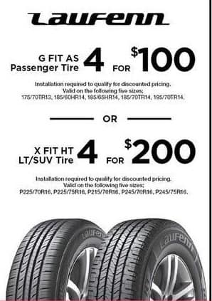 Sears Black Friday: (4) Lawfenn X Fit HT LT/SUV Tires, Select Sizes (Installation Required) for $200.00