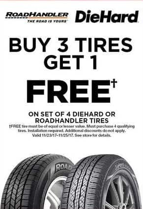Sears Black Friday: RoadHandler or DieHard Tires (Installation Required) - B3G1 Free