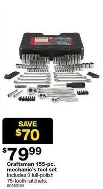 Sears Black Friday: Craftsman 155-pc Mechanic's Tool Set for $79.99