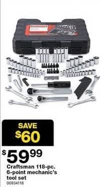 Sears Black Friday: Craftsman 118-pc 6-point Mechanic's Tool Set for $59.99