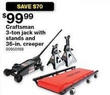 "Sears Black Friday: Craftsman 3-ton Jack with Stands and 30"" Creeper for $99.99"