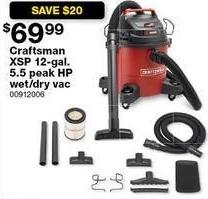 Sears Black Friday: Craftsman XSP 12-gal 5.5 Peak HP Wet/Dry Vac for $69.99