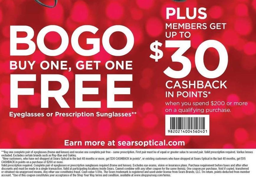 Sears Black Friday: Eyeglasses or Prescription Sunglasses + $15 - $30 in Cashback Points - B1G1 Free