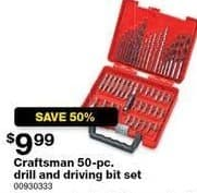 Sears Black Friday: Craftsman 50-pc Drill and Driving Bit Set for $9.99