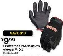 Sears Black Friday: Craftsman Mechanic's Gloves, M-XL for $9.99