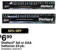 Sears Black Friday: DieHard AA or AAA Batteries, 24 pk for $6.99