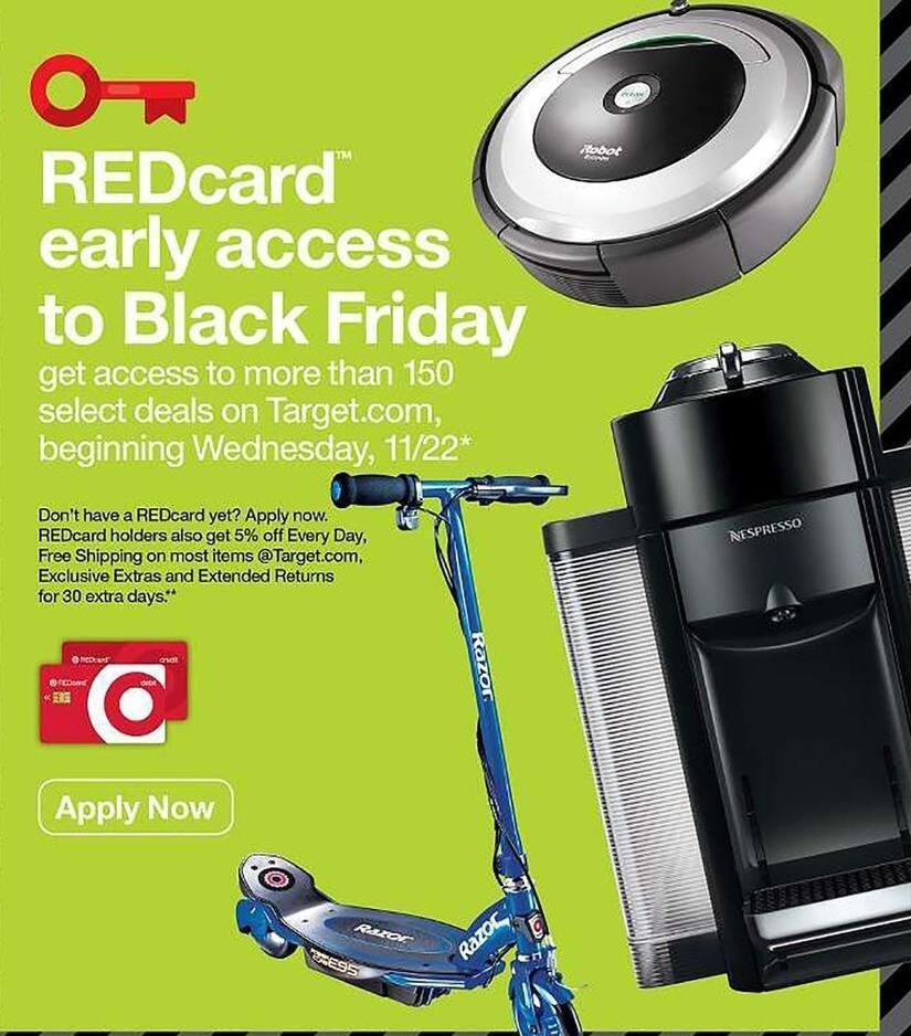 Target Black Friday: Redcard Holders: Early Access to over 150 Select Deals - Wed. 11/22