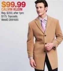 Macy's Black Friday: Calvin Klein Topcoats for $99.99