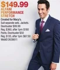 Macy's Black Friday: Alfani Performance Stretch Suits for $149.99
