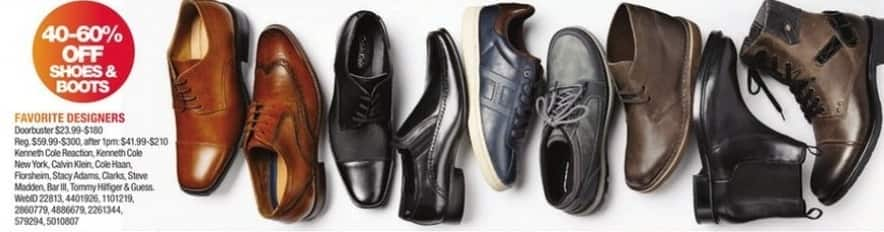 Macy's Black Friday: Men's Shoes and Boots from Kenneth Cole, Cole Haan, Clarks, Steve Madden, Florsheim and More - 40-60% Off
