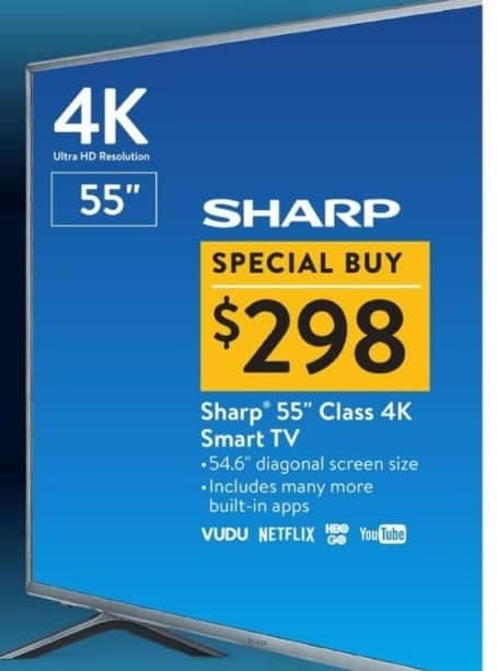 walmart black friday 55 sharp 4k smart tv for. Black Bedroom Furniture Sets. Home Design Ideas