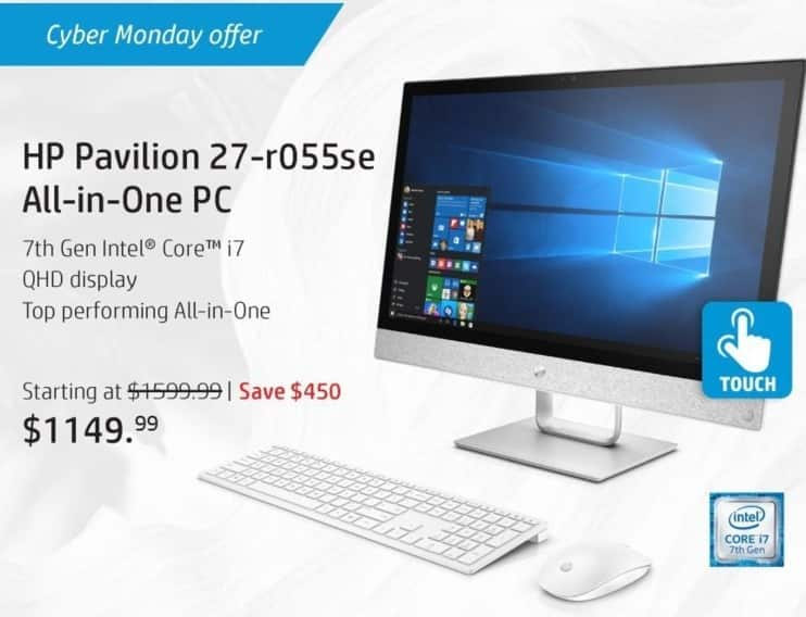 """HP Black Friday: HP Pavilion 27-r055se All-In-One PC: Intel i7 (7th Gen), 16GB RAM, 256GB SSD + 2TB HDD, 27"""" Display, Win 10 Home for $1,149.99"""