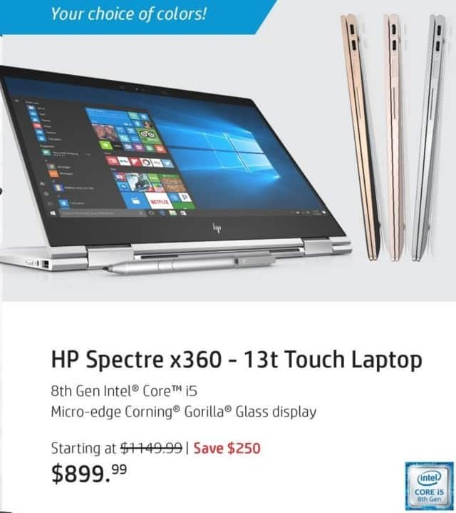 "HP Black Friday: HP Spectre x360 13t Touch Laptop: Intel i5 (8th Gen), 8GB RAM, 256 SSD, 13.3"", Win 10 Home for $899.99"
