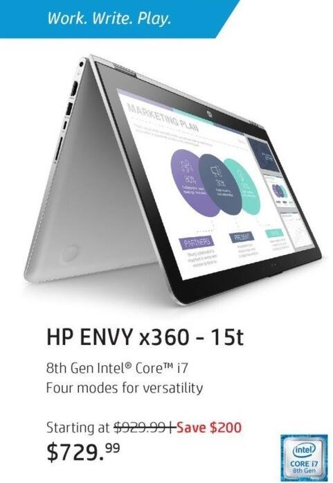"""HP Black Friday: HP Envy x360 15t 2-in-1 Laptop: Intel i7 (8th Gen), 12GB RAM, 1TB HDD, 15.6"""" FHD Touch Display, Win 10 Home for $729.99"""
