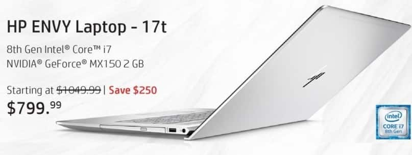 "HP Black Friday: HP Envy 17t Laptop: Intel i7 (8th Gen), 8GB RAM, 1TB HDD, 17.3"" Display, Win 10 Home for $799.99"