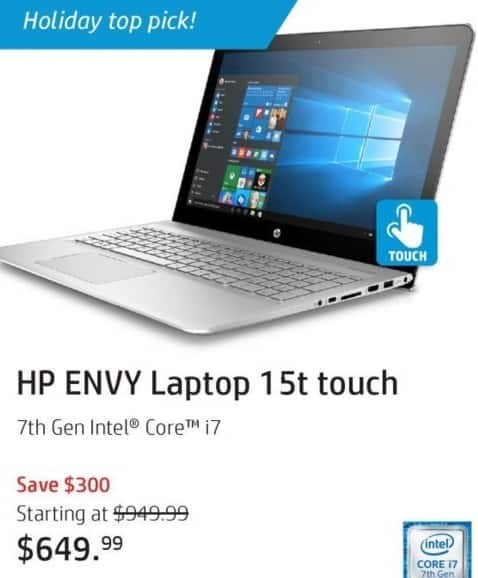 "HP Black Friday: HP Envy 15t Touch Laptop: intel i7 (7th Gen), 8GB, 2TB HDD, 15.6"" FHD Touch Display, Win 10 Home for $649.99"