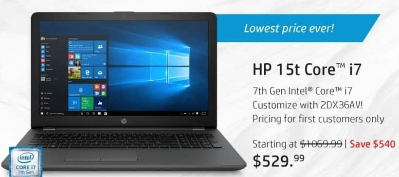 """HP Black Friday: HP 15t Touch Laptop: Intel i7 (7th Gen), 8GB RAM, 1TB HDD, 15.6"""" Touch Display, Win 10 Home for $529.99"""