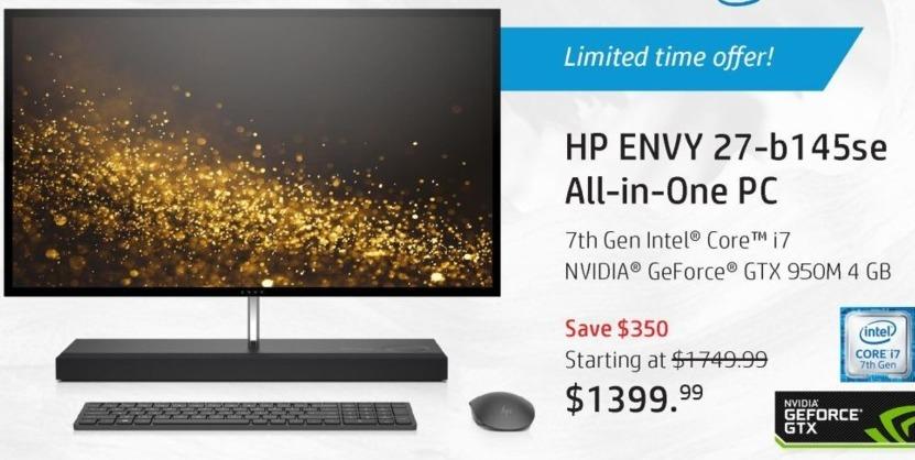 HP Black Friday: HP Envy 27-b145se All-In-One Desktop PC: Intel i7 (7th Gen), 16GB RAM, 2TB HDD + 256GB SSD, Win 10 Home for $1,399.99