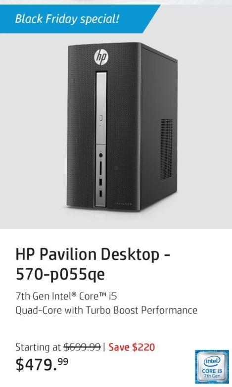 HP Black Friday: HP Pavilion 570-p055qe Desktop: Intel i5 (7th Gen), 12GB RAM, 1TB HDD, Win 10 Home for $479.99