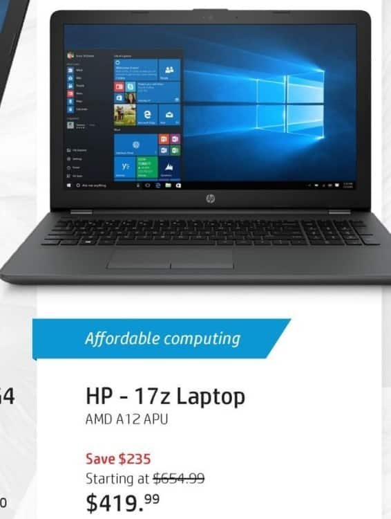 """HP Black Friday: HP 17z Laptop: AMD Quad-Core A12 APU, 8GB RAM, 1TB HDD, 17.3"""" Display (Touch Optional), Win 10 Home for $419.99"""
