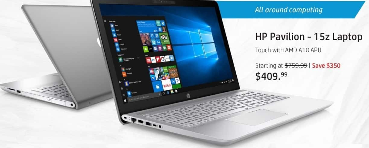 """HP Black Friday: HP Pavilion 15z Laptop: AMD Quad-Core A10 APU, 8GB RAM, 1TB HDD, 15.6"""" Display, Win 10 Home for $409.99"""