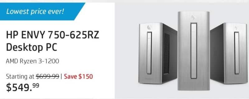 HP Black Friday: HP Envy 750-625rz Desktop: AMD Ryzen 3 1200, 8GB RAM, 1TB HDD, WIn 10 Home for $549.99