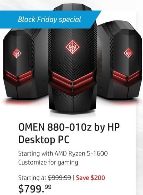 HP Black Friday: HP Omen 880-010z Desktop: AMD Hexa-Core RYZEN 5 1600, 8GB RAM, 1TB HDD, Win 10 Home for $799.99