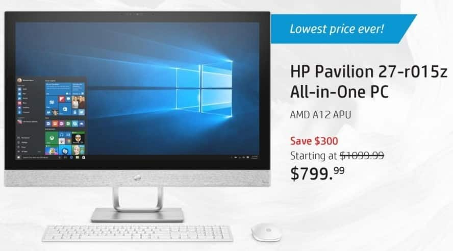 "HP Black Friday: HP Pavilion 27-r015z All-In-One PC: AMD Quad-Core A-Series, 16GB RAM, 2TB HDD, 27"" Display, Win 10 Home for $799.99"