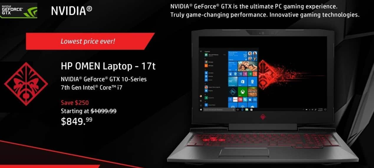"HP Black Friday: HP Omen 17t Laptop: Intel i7 (7th Gen), 18GB RAM, 1TB HDD, 17.3"" FHD Display, Win 10 Home for $849.99"