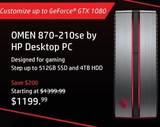 HP Black Friday: HP Omen 870-210se Desktop: Intel i5 (7th Gen), 8GB RAM, 1TB HDD + 128GB SSD, Win 10 Home for $1,199.99