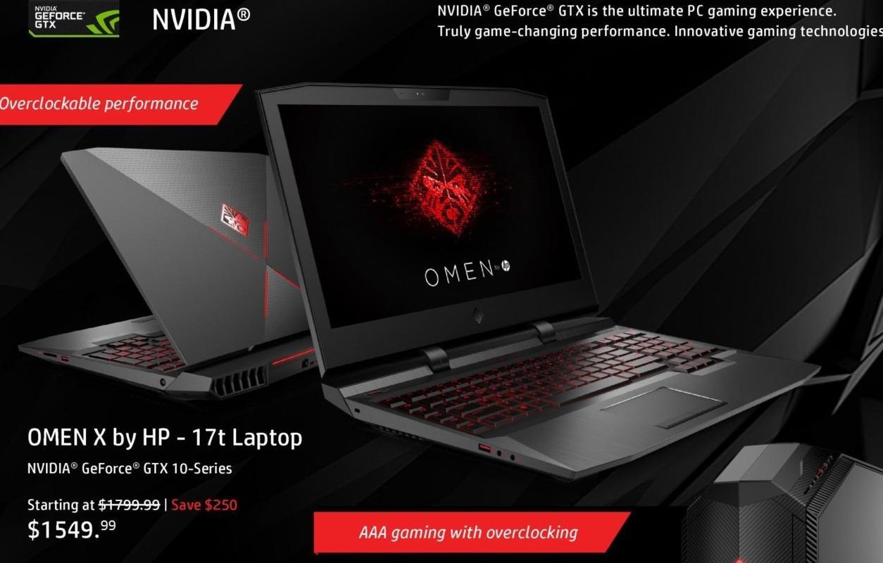 "HP Black Friday: HP Omen X 17t Laptop: Intel i7 (7th Gen), 12GB RAM, 1TB HDD, 17.3"", Win 10 Home for $1,549.99"