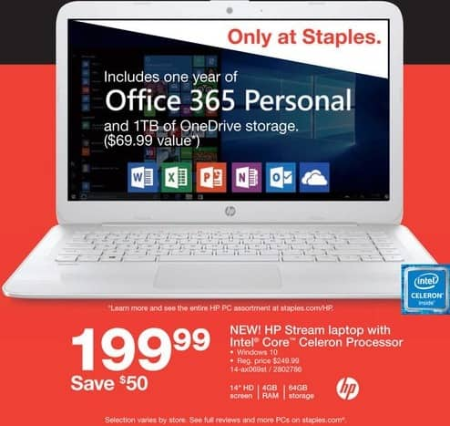 "Staples Black Friday: HP Stream 14"" Laptop w/Intel Core Celeron Processor, 4GB RAM and 64GB SSD for $199.99"