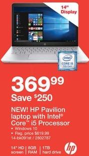 "Staples Black Friday: HP Pavilion 14"" Laptop w/Intel Core i5 Processor, 8GB RAM, 1TB HDD for $369.99"